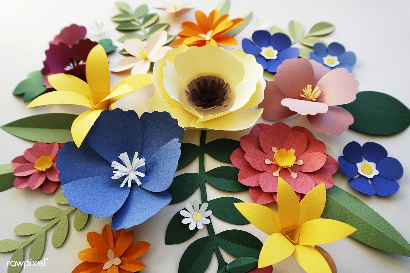 Set Of Flowers And Plants Made Out Of Paper Premium Image By