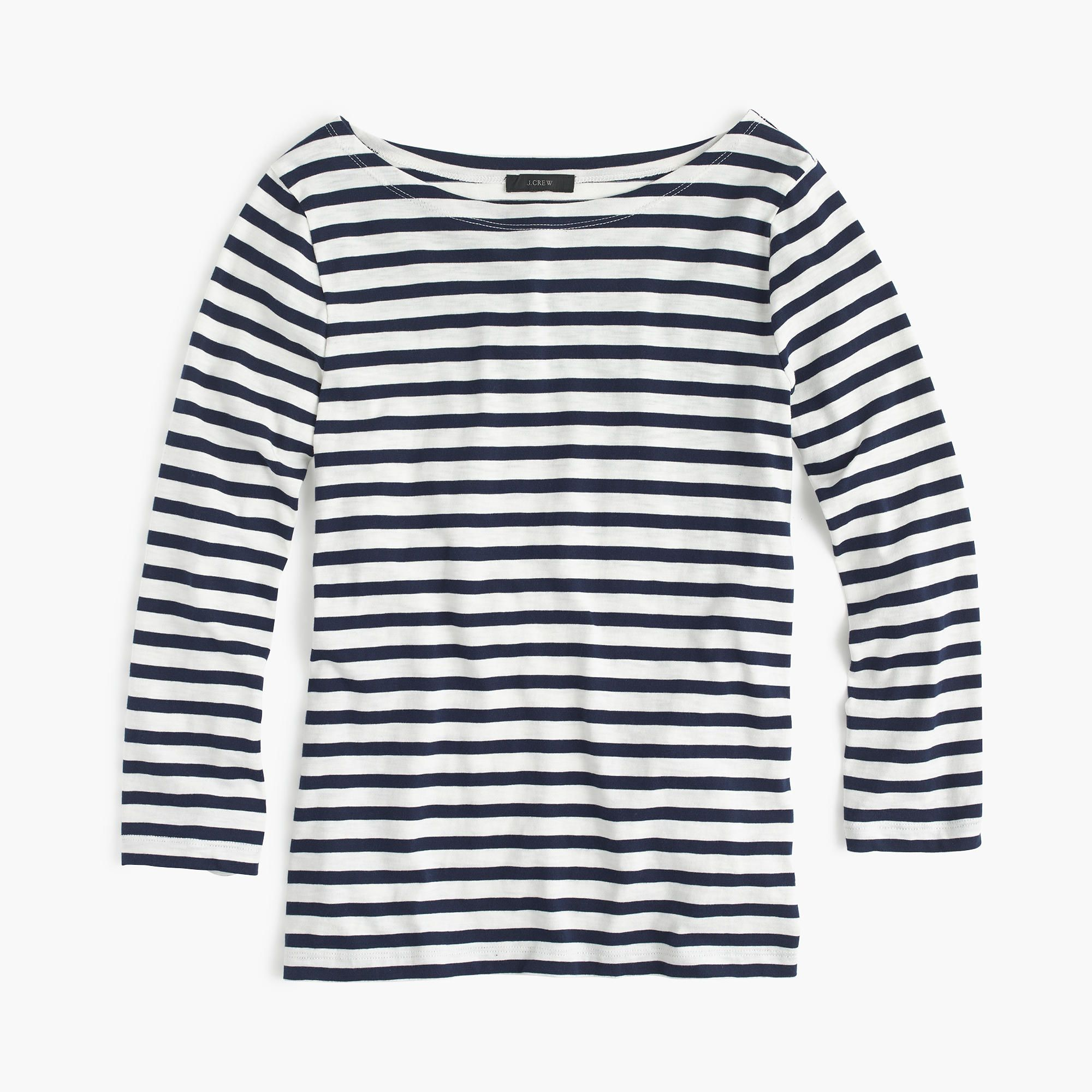 42045f517166c4 Shop the Striped Boatneck T-Shirt at JCrew.com and see the entire selection  of Women's Tees.
