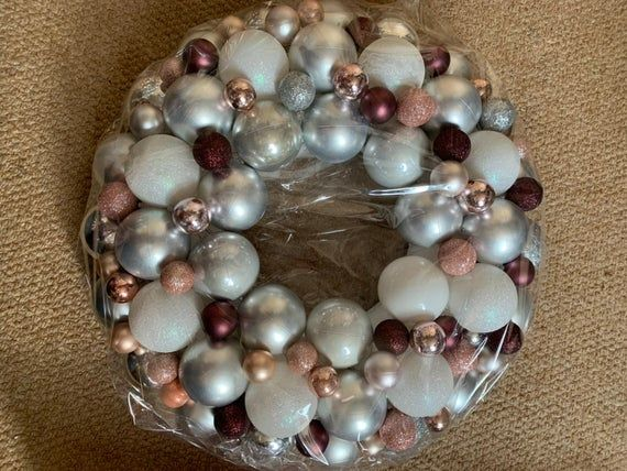 Hand Made Bauble Wreath Silver, Pink & Purple