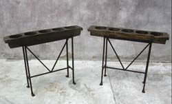 #42-205 Two antique 5 hole panaleras - sugar mold on hand wrought iron base. Sold separately - Guatemala 38.5x6.5x31H & 39.5x8x30H