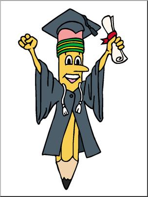 Pencil graduation. End of school clip