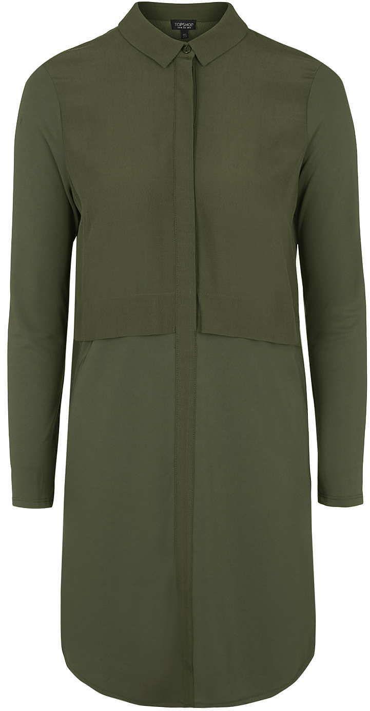Womens dark khaki hybrid shirt-dress from Topshop - £39 at ClothingByColour.com