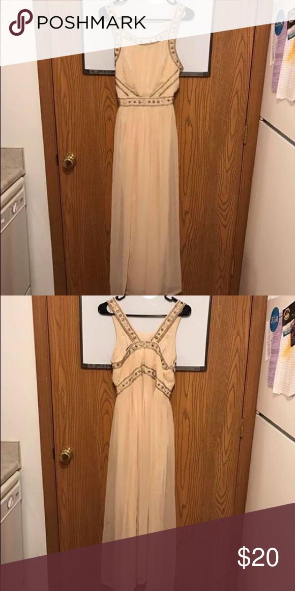 Forever 21: long, formal dress Forever 21: long, light peach, formal beaded dress. Worn once. Forever 21 Dresses Prom