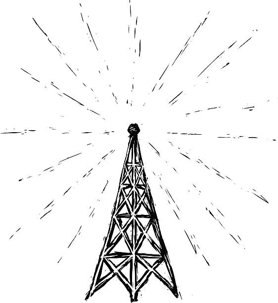 Radio Tower Illustrated In A Sketchy Etched Style Tower Radio Etching