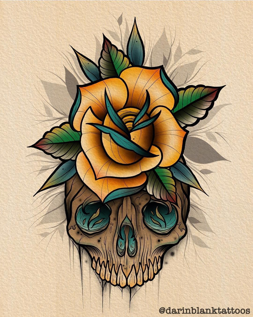Darin Blank On Instagram Skull And Rose Tattoo Tattoos Tattooart Tattooartist Skull Rose Tattoos Traditional Rose Tattoos Rose Tattoo Design