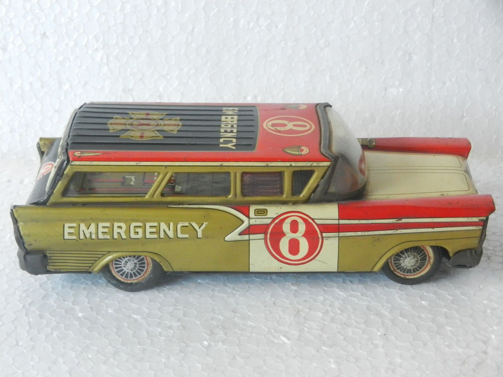 Vintage Friction Ford NO 8 Emergency 'Y' Trademark Litho TIN TOY