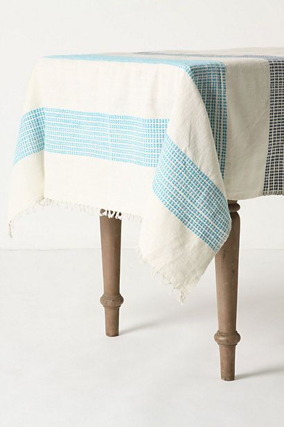 XOXOXOXO Dashed Azure Tablecloth from Anthropologie $128
