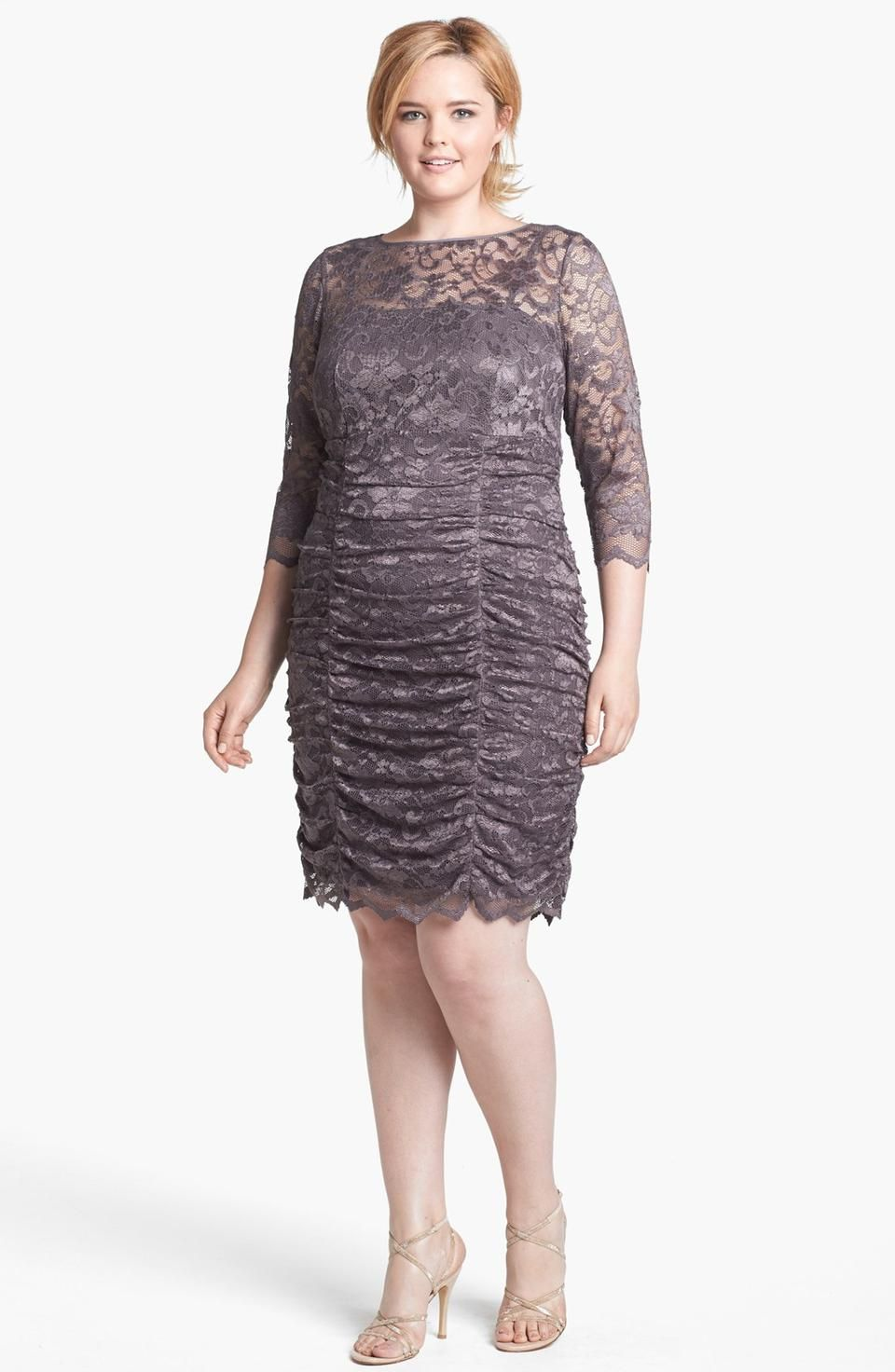 Eliza J Ruched Lace Dress (Plus Size) | Gowns and Suits | Pinterest ...