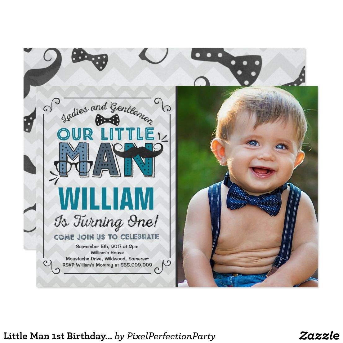Little Man 1st Birthday Invitation Mustache Party Mustache party