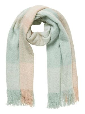 Stay warm in style Scarf by Vero moda Pastel pink & green is a match made in heaven  Available @Muntfashion