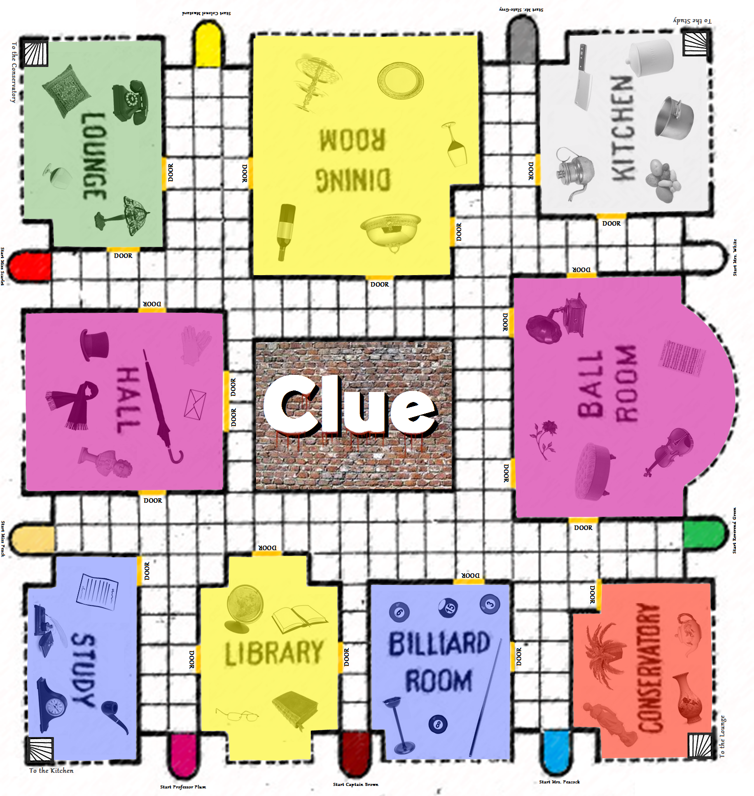 Game board colors - Clue Game Board Printable