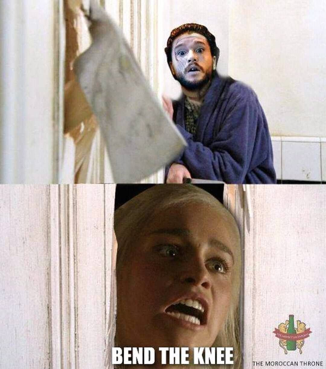 Game of Thrones meme lol!! Dany and Jon BEND THE KNEE