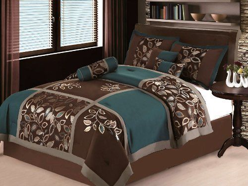7 PC MODERN Brown Teal Blue Patchwork COMFORTER SET / BED IN A BAG   KING