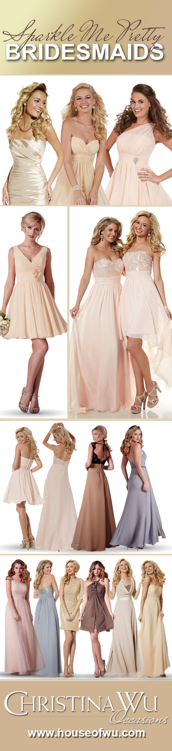 Sparkle your bridesmaids pretty in glitz and glam with a variety of styles to…