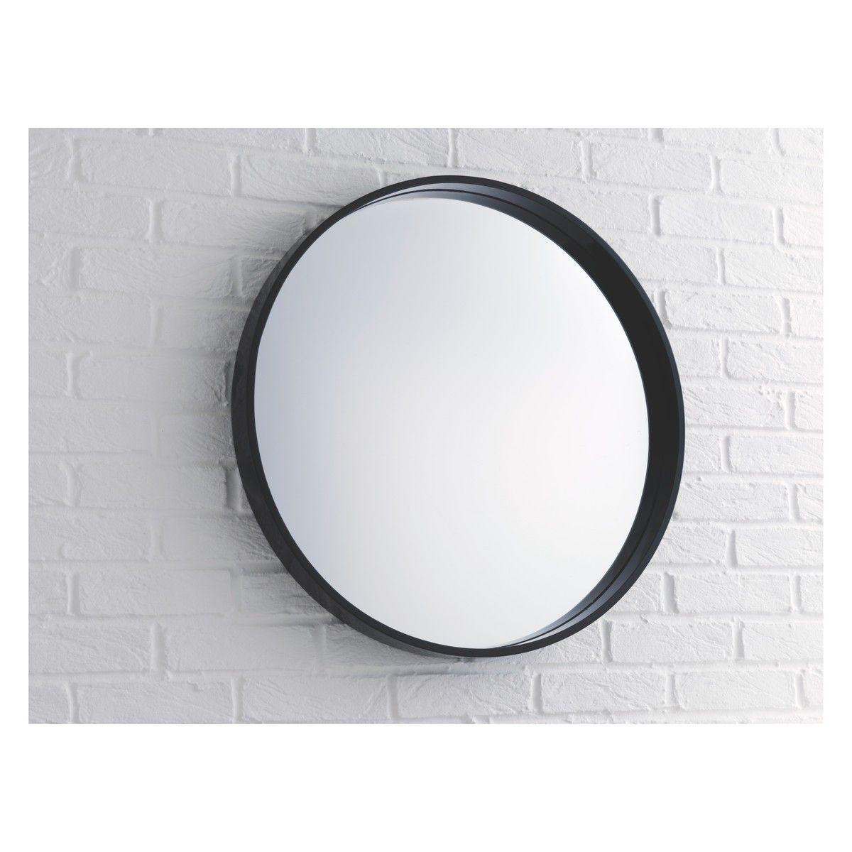 Aimee Black High Gloss Round Wall Mirror D65cm Round Wall Mirror