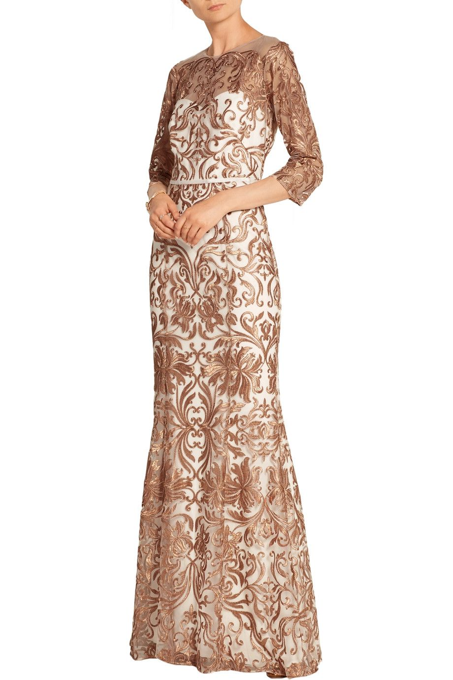 Shop on-sale Marchesa Notte Metallic embroidered tulle gown. Browse other  discount designer Dresses