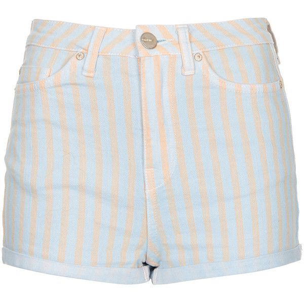 TOPSHOP MOTO Blue Pastel Strip Hotpants (€27) ❤ liked on Polyvore featuring shorts, bottoms, pants, short, blue, micro shorts, micro short shorts, cotton shorts, blue high waisted shorts and short shorts