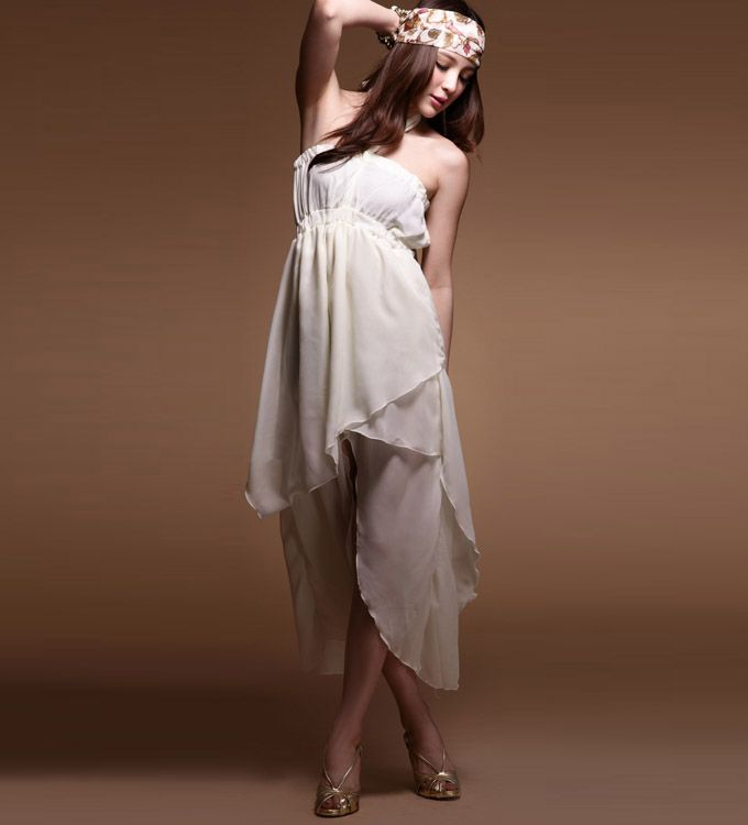 Asymmetrical Halter Top Chiffon Dress
