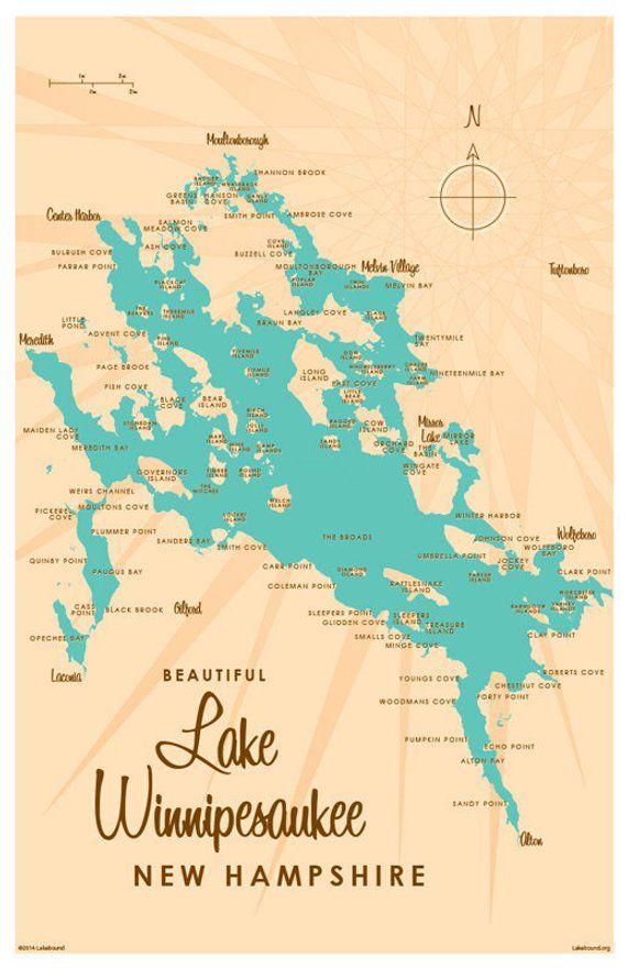 Map Of Lake Winnipesaukee Lake Winnipesaukee, NH Map Print in 2019 | Products | Pinterest  Map Of Lake Winnipesaukee