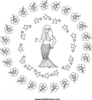 Fun mermaid adult coloring page or craft design template