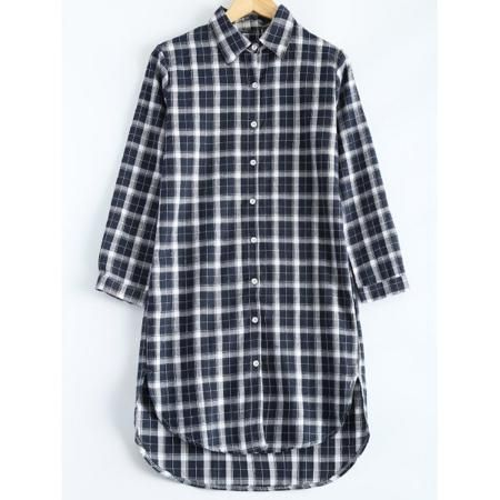 Plus Size Plaid Hi Low Hem Shirt Dress