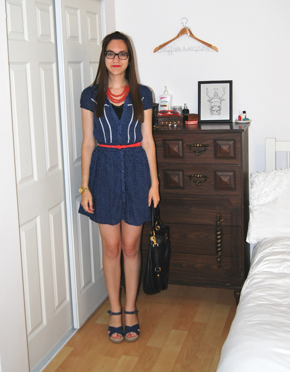 coral and blue with polka dots dress
