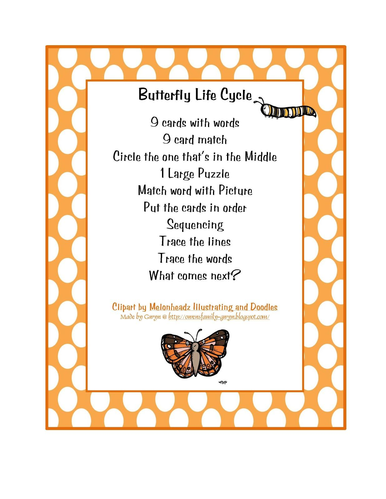 Preschool Printables Butterfly Life Cycle Printable With