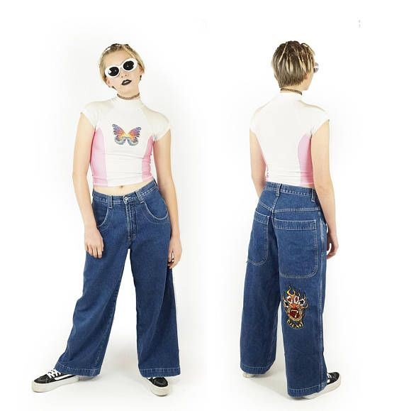 JNCO Late 90s Wide Leg Baggy Jeans Vintage 90s Goth Grunge