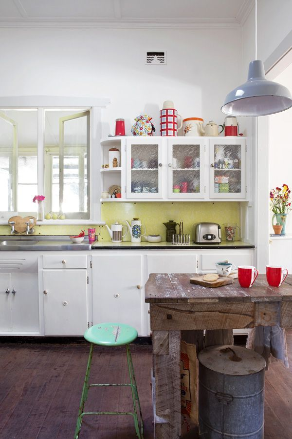 Rustic + Retro Kitchen! Somehow It Works. I Love The Collection On Top Of  The Cabinets As Well.