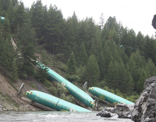 Went rafting, saw some new Boeing 737 fuselages in the river. No biggie.
