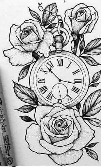 12 Disenos de tatuajes rosas con reloj
