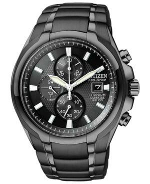 Citizen Men's Chronograph Eco-Drive Black Titanium Carbide Ion-Plated Bracelet Watch 42mm CA0265-59E