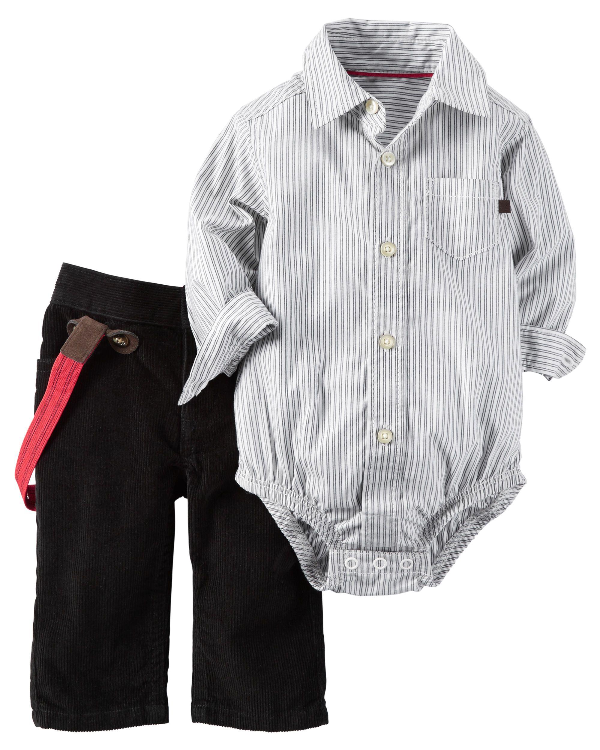 2 Piece Button Front Bodysuit & Corduroy Pant Set