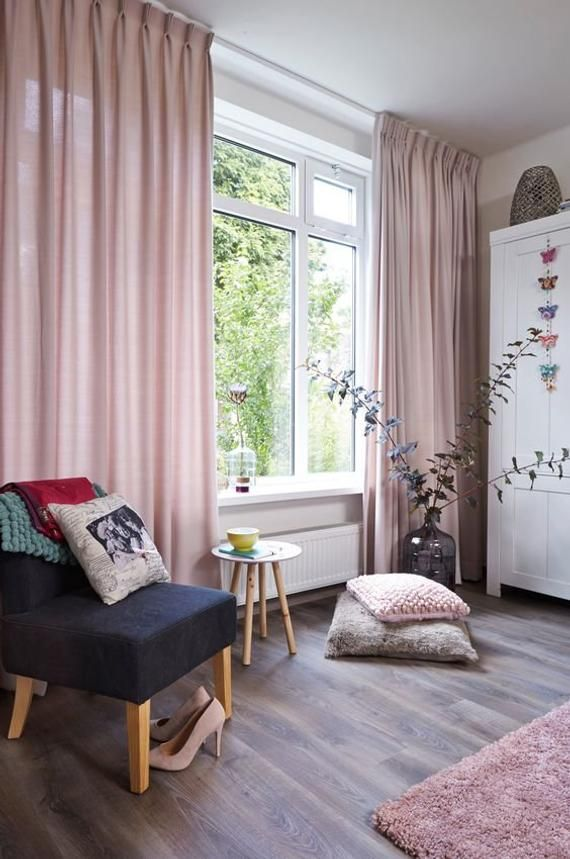 Pair Of Pedal Pink Curtains Linen Blend Pink Drapery Custom