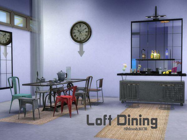 Loft Dining by ShinoKCR at TSR via Sims 4 Updates