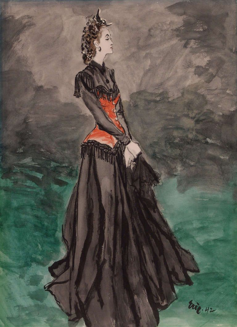 'Schiaparelli Fashion, 1942' : Carl Oscar August Erickson. Charcoal, gouache, illustration board, paper, watercolor.