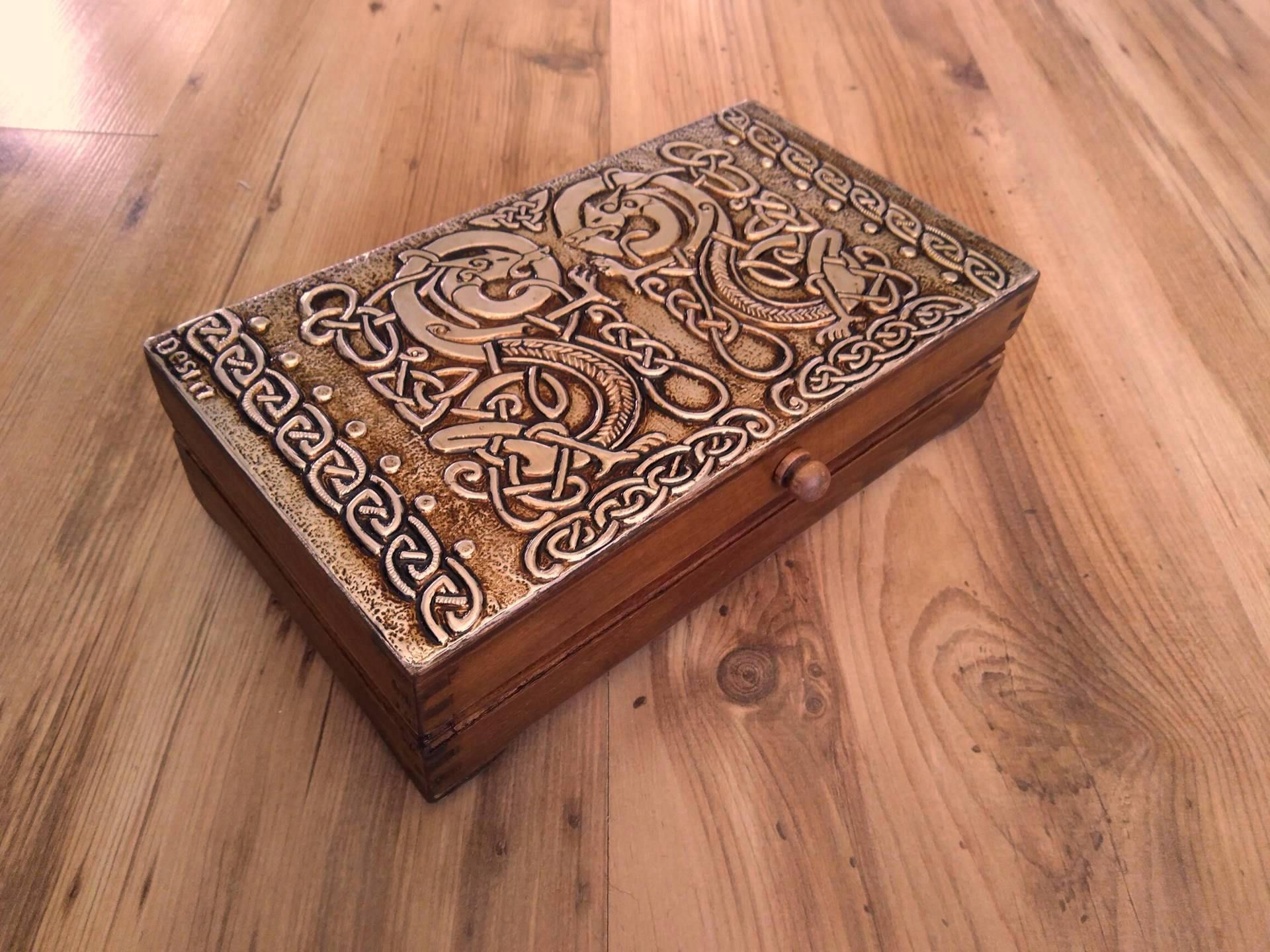 Celtic dragonsJewelry box Twin dragons box Celtic knotJewelry