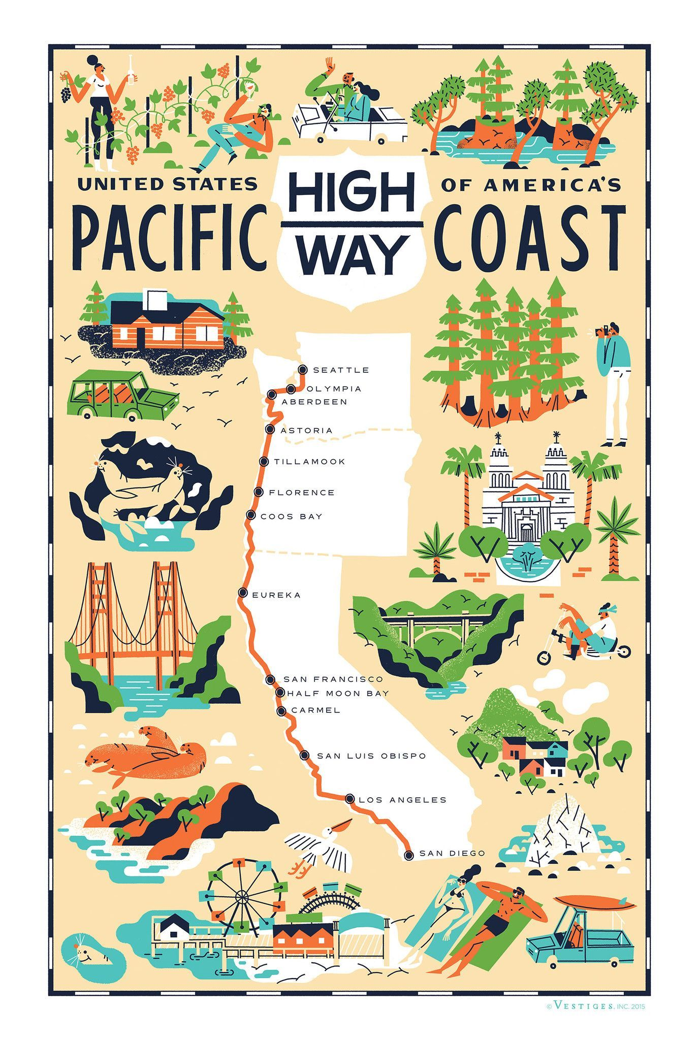 Map Of California Road Trip.Pacific Coast Highway Travelling Goals West Coast Road Trip