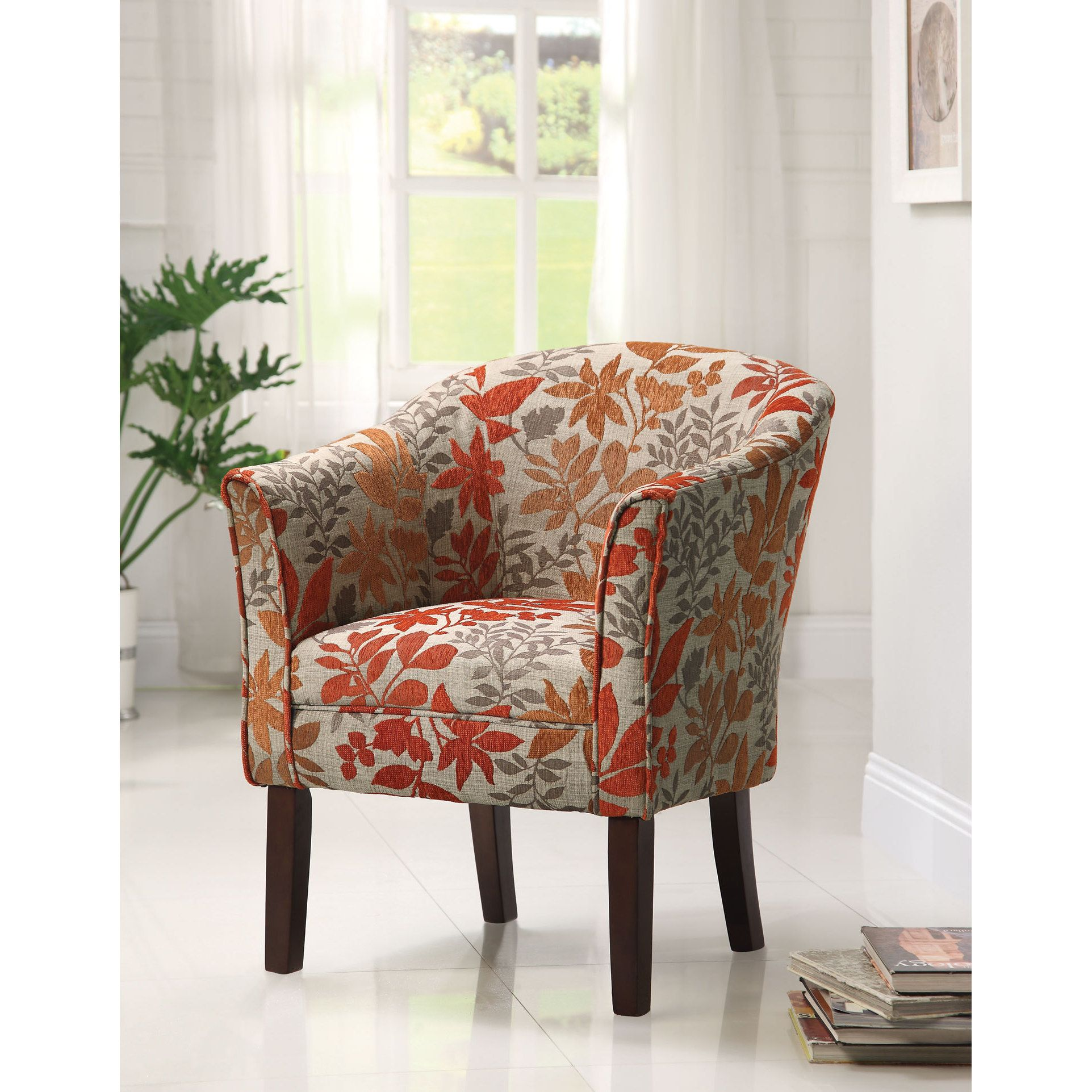 Best Coaster Company Orange And Grey Floral Accent Chair 400 x 300