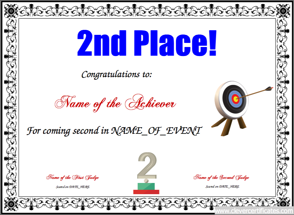 Nd Place Free Certificate Templates For Kids Sport And
