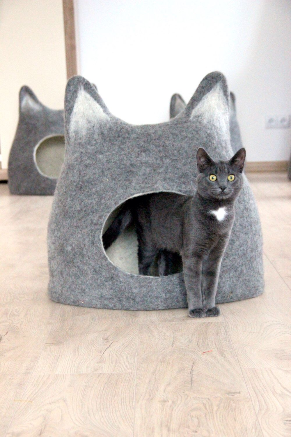 Cat Bed With Ears From Natural Grey Wool Felted Wool Cat