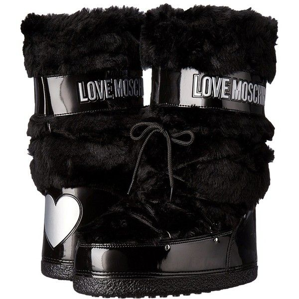 LOVE Moschino Faux Fur Moon Boot (Black) Women's Boots (755 PLN) ❤ liked on Polyvore featuring shoes, boots, mid-calf boots, mid calf boots, snow boots, lace up boots, black boots and black moon boots