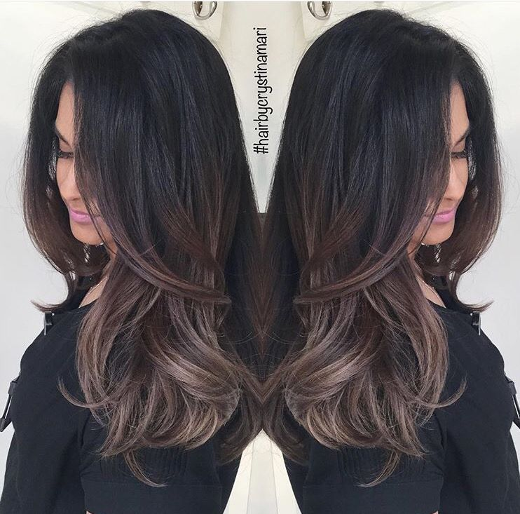 Dark Brown Hair With Ash Brown Balayage Hairstyle