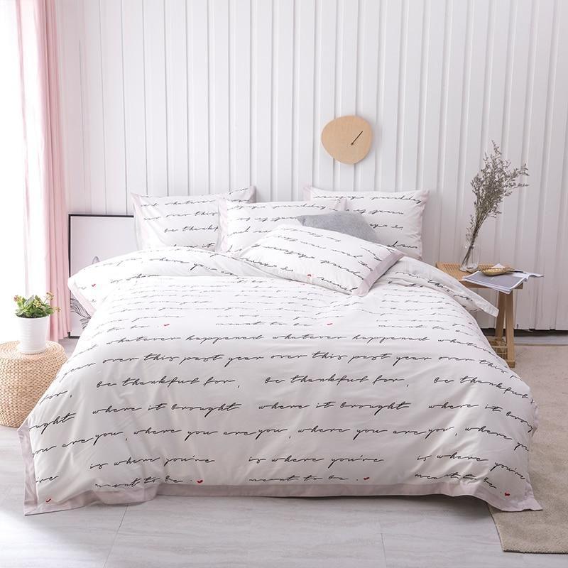 Text Printed 100 Cotton Ultra Soft Bedding Set Unique Bedding