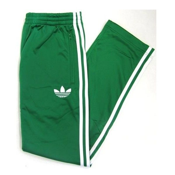 Adidas Originals Firebird Track Pants (bottoms) Green/white ($59) ❤ liked on Polyvore featuring activewear, activewear pants, track pants and adidas originals