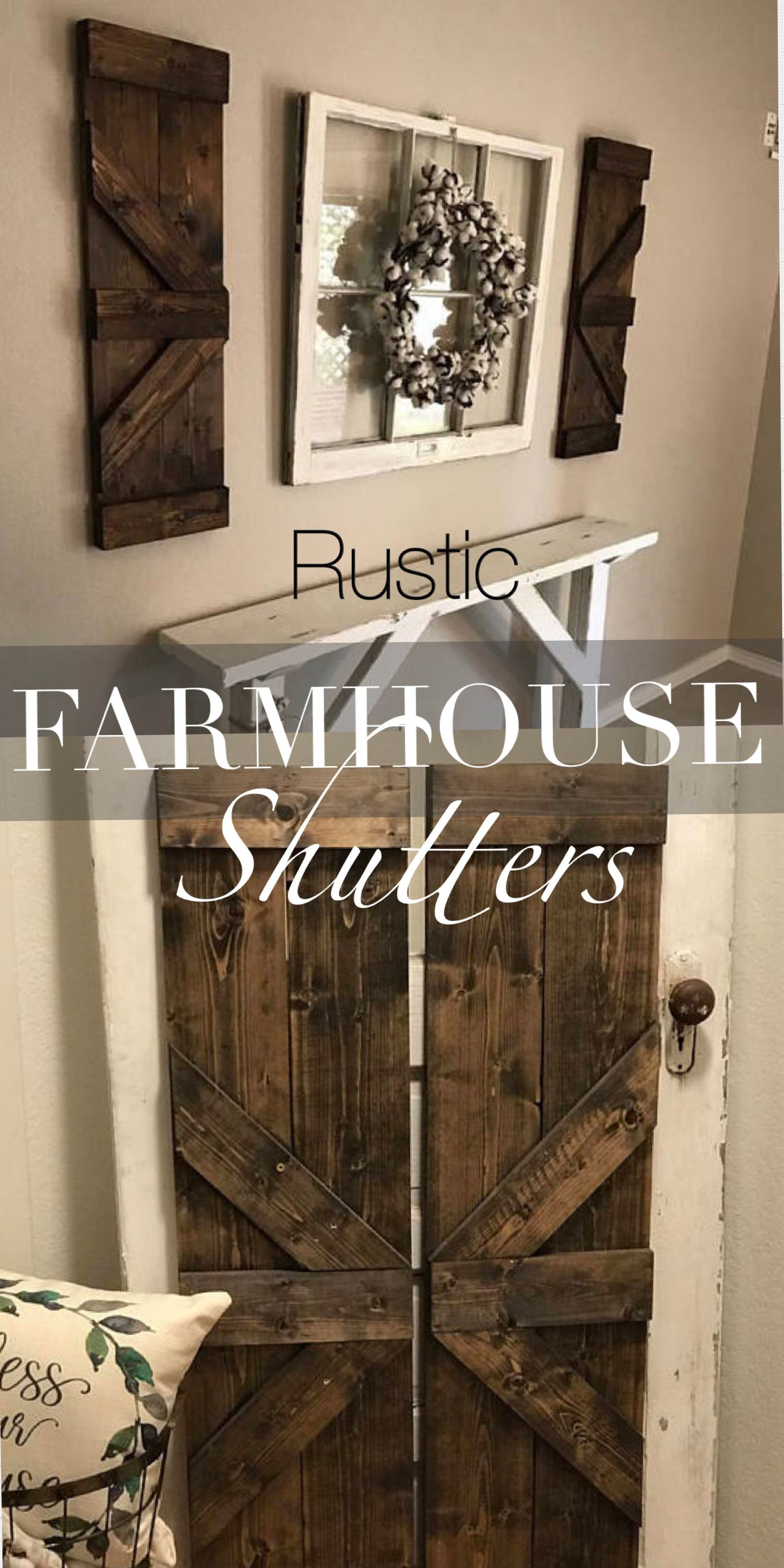 Ad Rustic Farmhouse Style Wood Shutters Perfect For Indoor And Outdoor Decor Put On Either Side Of Shutter Wall Decor Farmhouse Wall Decor Rustic Wall Decor