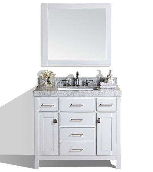 40 Malibu White Single Modern Bathroom Vanity With White Marble