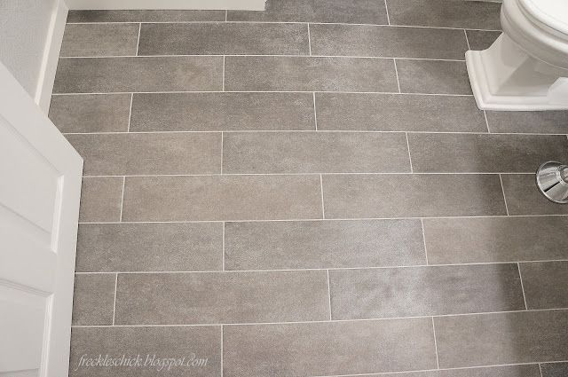 Bathroom Floor    They Are Porcelain Stone Tiles Cut In Planks X 24 Size).  Instead Of Standard Square Tile, Consider Rectangular Plank Tile.
