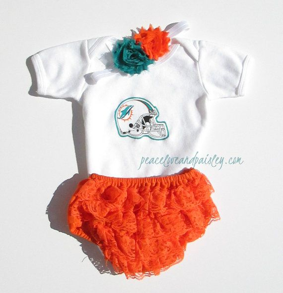 Hot Miami Dolphins Baby Bodysuit, Lace Ruffle Diaper Cover and Headband  for sale