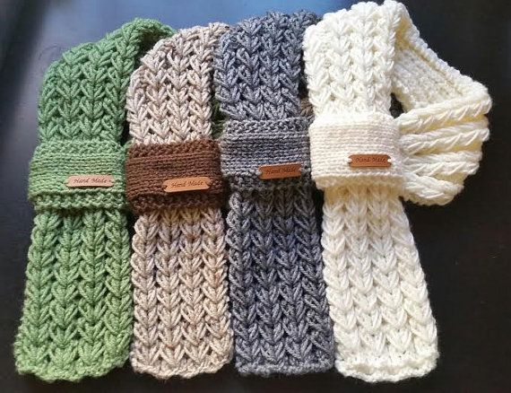 Kids or Adults Adjustable Hand Knit Scarf / Neck warmer with hand ...